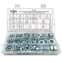 Metric Class 10.9 Hex Nut, Flat & Lock Washers Assortment - 351 Pcs
