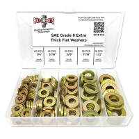 Inch Grade 8 SAE Extra Thick Flat Washer Assortment - 168 PCS
