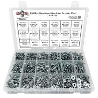 Phillips Pan Head Machine Screws, Hex Nuts, Washers, and Lock Washers - 1751 pcs