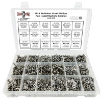 Stainless Steel Phillips Pan Head Machine Screws, Hex Nuts, Washers, and Lock Washers - 1751 pcs