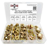 Grade 8 Hex Top Locking Flange Nuts Zinc Yellow - 95 PCS