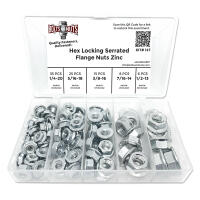 Case Hardened Serrated Hex Flange Nut Assortment - 90 PCS