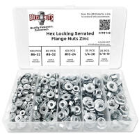 "#6 #8 #10 1/4"" 5/16"" Coarse Case Hardened Serrated Hex Flange Nut Assortment - 301 PCS"