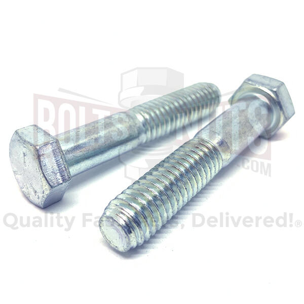 "1/4-20x2"" Hex Cap Screws Grade 5 Bolts Zinc Clear"