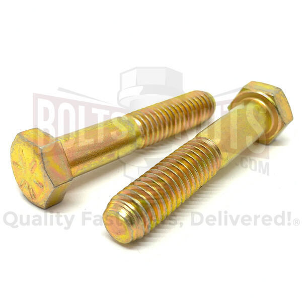 "1/4-28x2-3/4"" Hex Head Cap Screws Grade 8 Zinc Yellow"