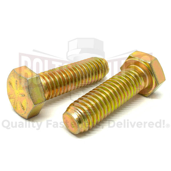 "7/16-20x1-1/4"" Hex Head Cap Screws Grade 8 Zinc Yellow"