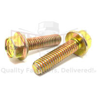 "3/8-16x2 1/4"" Grade 8 Hex Flange Frame Bolts Zinc Yellow"