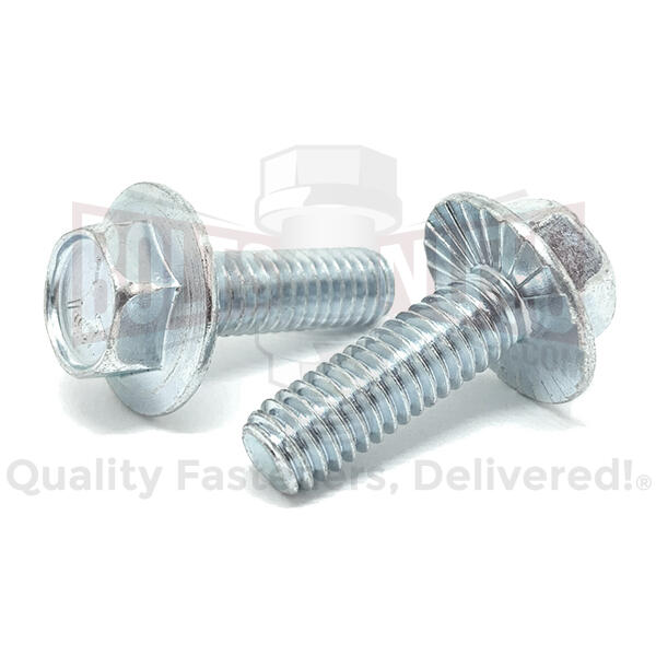 "3/8-16x3/4"" Grade 5 Serrated Hex Large Flange Bolts Zinc Clear"