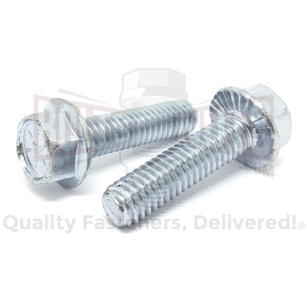 "3/8-16x1-1/4"" Grade 8 Serrated Hex Flange Bolts Zinc Clear"