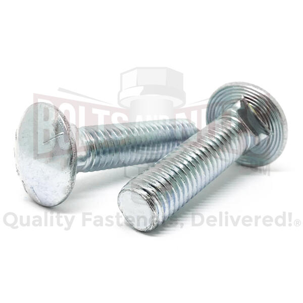 "1/2-13x2-1/2"" Grade 5 Round Head Square Neck Carriage Bolts Zinc"