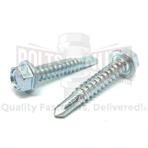 "#8-18x1-1/4""Unslotted Hex Washer Self Drilling Screws Zinc"