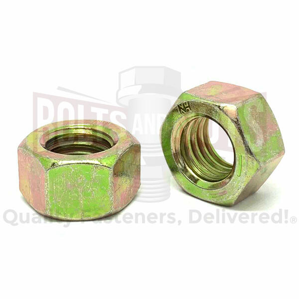 "3/8""-16 Grade 8 Finished Hex Nuts Zinc Yellow"