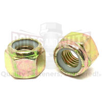 "1/4""-28 Grade 8 Hex Nylon Insert Lock Nuts Zinc Yellow"