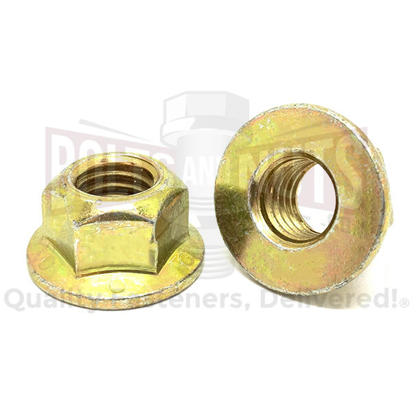 "1/2""-13 Grade 8 Hex Flange Prevailing Torque Top Lock Nuts Zinc Yellow"