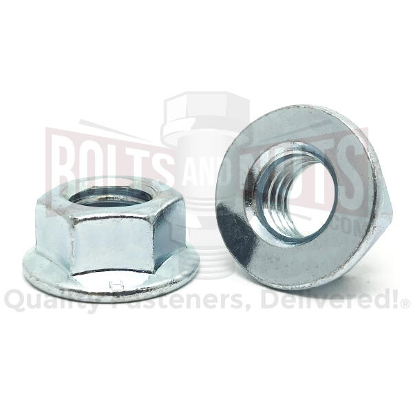 "3/8""-16 Grade 5 Hex Flange Nuts Zinc Clear"