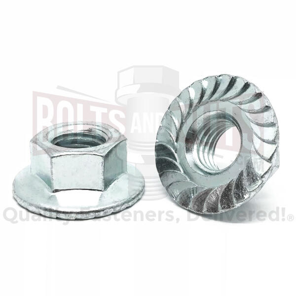 "1/4""-20 Serrated Hex LARGE Flange Lock Nuts Zinc"