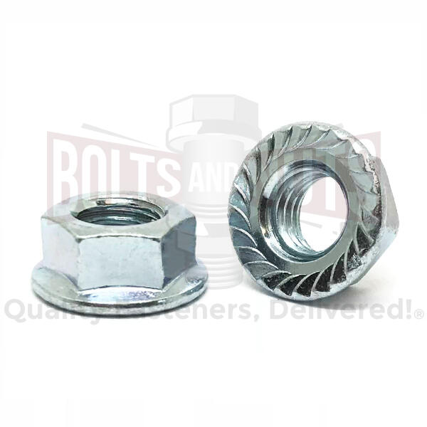 "1/2""-20 Case Hard Steel Serrated Hex Flange Lock Nuts Zinc"