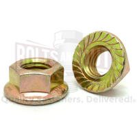 "3/8""-16 Grade 8 Serrated Hex Flange Lock Nuts Zinc Yellow"