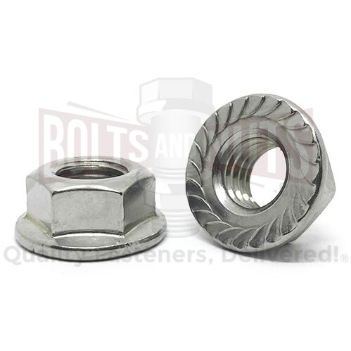 "1/2""-13 Stainless Steel Serrated Hex Flange Lock Nuts"