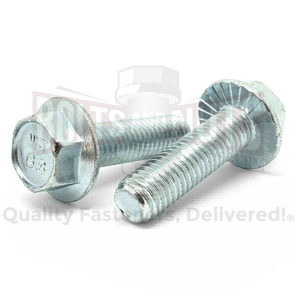 M8-1.25x30 Class 8.8 Hex Serrated Flange Bolts Zinc Clear