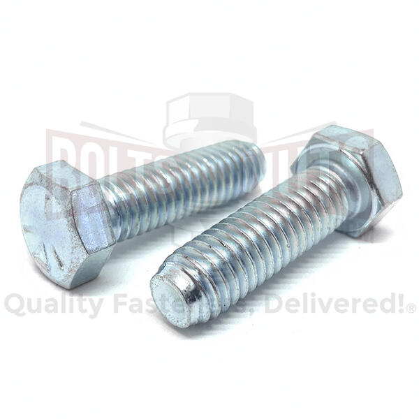 "1/4-28x5/8"" Hex Cap Screws Grade 5 Bolts Zinc Clear"