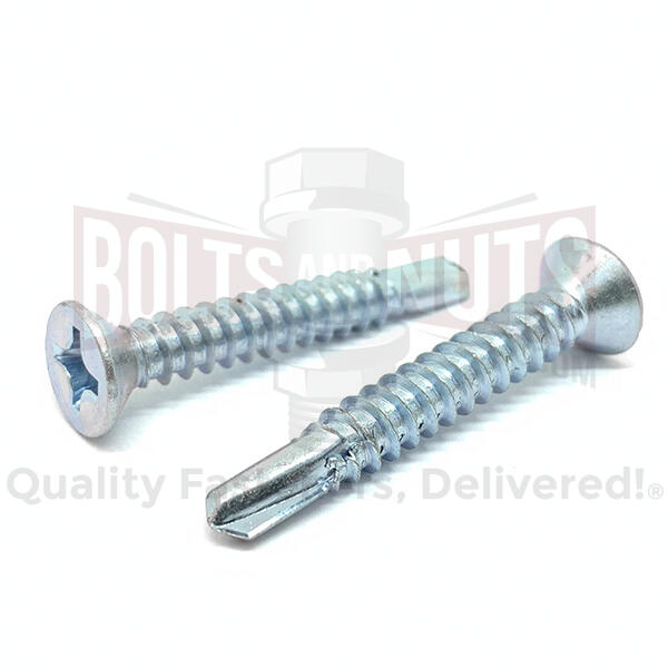 "#10x1-1/4"" Phillips Flat Head Self Drilling Sheet Metal Screws Zinc"