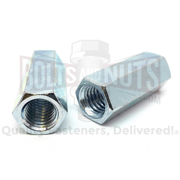 "3/8-24 X 1-1/8"" Steel Coupling Nuts Zinc"