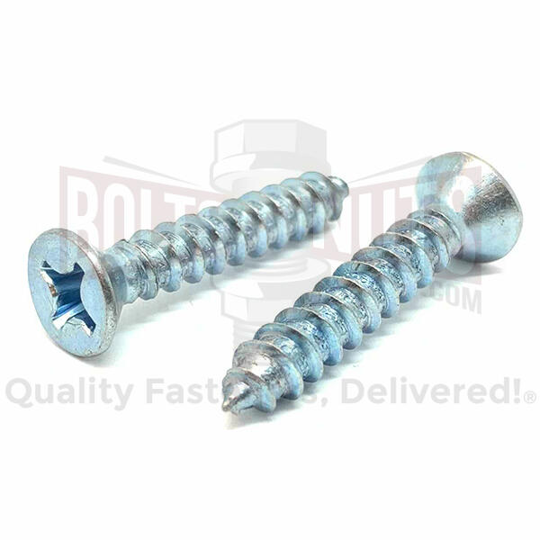 "#12X1-1/2"" Phillips Flat Head Self Tapping Sheet Metal Screws Zinc"