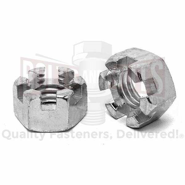"5/16""-18 Steel Slotted Hex Nuts Plain & Oil"