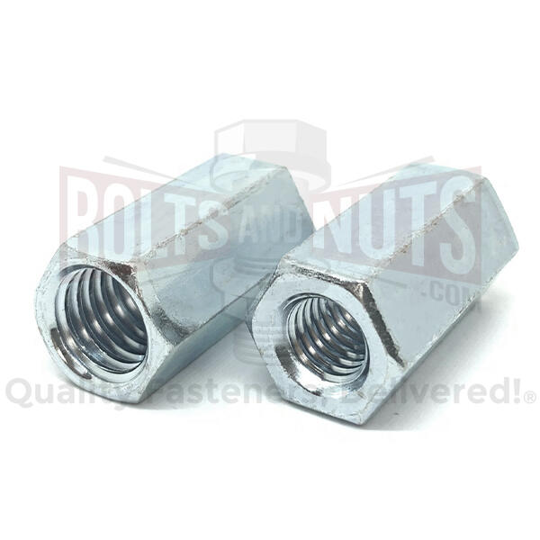 "3/8""-16 to 1/4""-20 x 1"" Grade A Reducer Coupling Nuts Zinc"