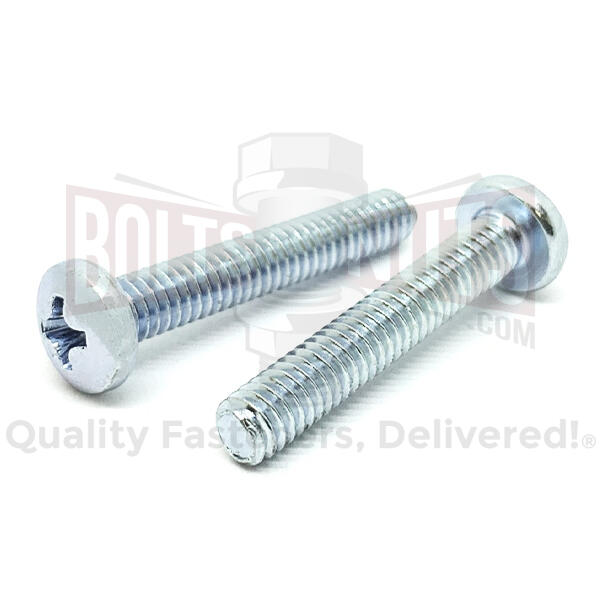 "1/4-20x1-1/2"" Phillips Pan Head Machine Screws Steel Zinc"
