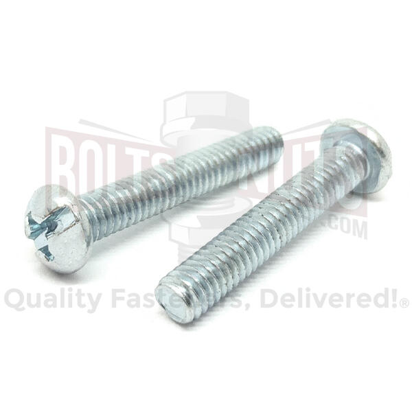 "#10-24x1-1/4"" Combo Round Head Machine Screws Steel Zinc"