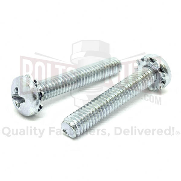 "#8-32x1-1/4"" External Tooth Sems Phillips Pan Head Machine Screws Zinc"