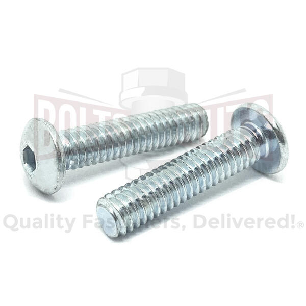 "#10-24x7/8"" Alloy Button Head Socket Cap Screws Zinc Clear"
