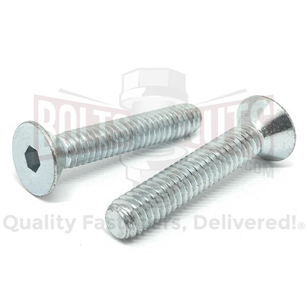 "#10-24x1-1/4"" Alloy Flat Head Socket Cap Screws Zinc Clear"